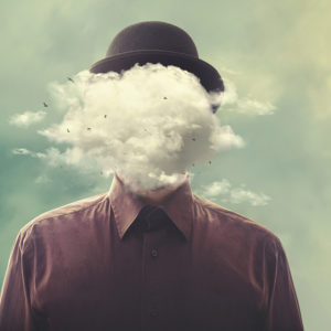 Graphic of man with head as clouds
