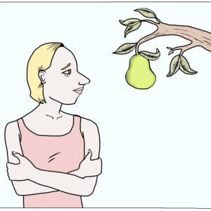 A women glances at a pear tree
