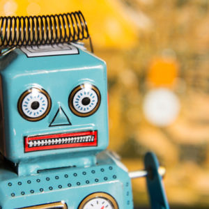 closeup of tin robot