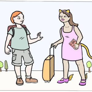 Two characters talk to each other while traveling