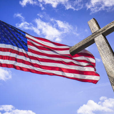 American flag with a wooden cross, one nation under god, religious freedom, christianity