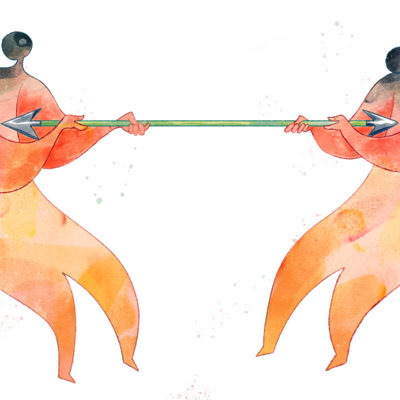 An illustration of two people tugging on an arrow