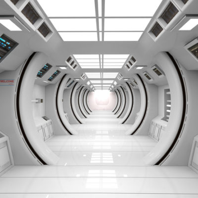 Futuristic corridor SCIFI - stock photo