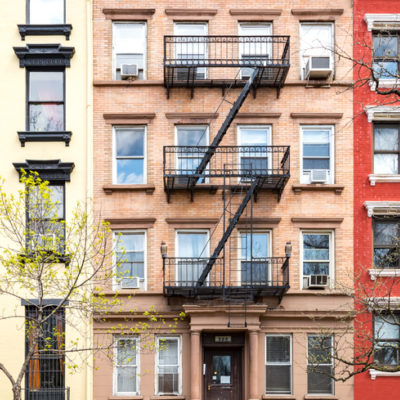 Colorful brick buildings in New York City