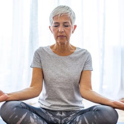 A woman meditates