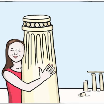 A woman hugs a column