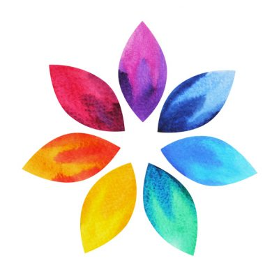 colorful flower petals representing healing energy and chakras