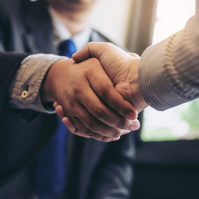 Men shaking hands in agreement