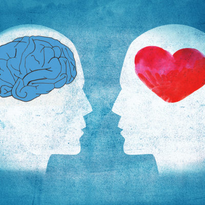 A graphic showing 2 heads one with a brain in one with heart