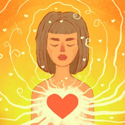 illustration of woman with heart bursting: self-love for valentine's day