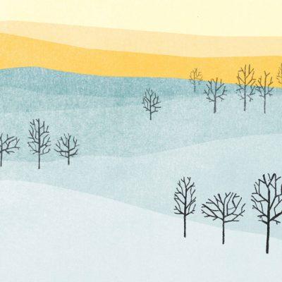 Watercolor winter landscape with setting sun for a winter solstice ritual
