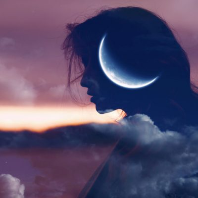 woman profile with moon silhouette for body and spirit moon practice