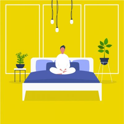 Illustration of person sitting on their bed in lotus yoga for better sleep