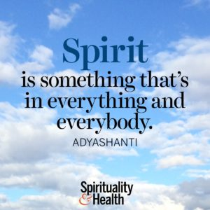 Spirit is something thats in everything and everybody