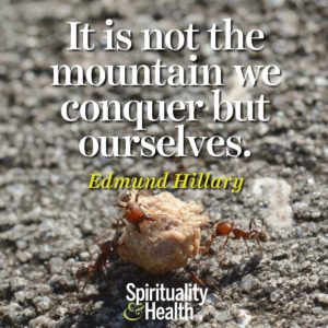 It is not the mountain we conquer but ourselves