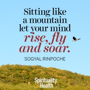 Sitting like a mountain let you mind rise, fly, and soar