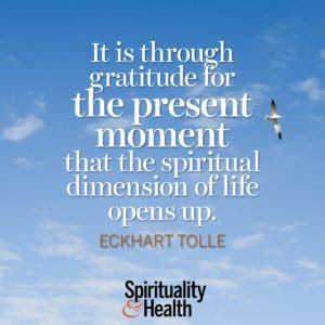 <p>It is through gratitude for the present moment that the spiritual dimension of life opens up. - Eckhart Tolle</p>