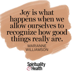 <p>Joy is what happens when we allow ourselves to recognize how good things really are. - Marianne Williamson</p>