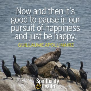 Guillaume Apollinaire on happiness and the present moment - Now and then it's good to pause in our pursuit of happiness and just be happy