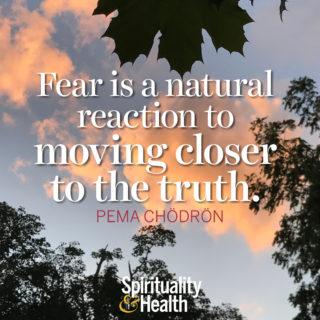 Pema Chödrön on fear - Fear is a natural reaction to moving closer to the truth. - Pema Chödrön