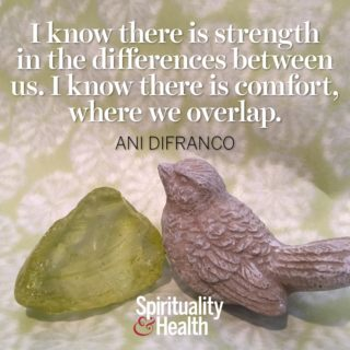 Ani DiFranco on Strength and Differences - I know there is strength in the differences between us. I know there is comfort where we overlap.