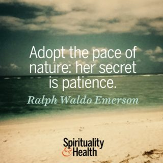 Ralph Waldo Emerson on the pace of nature - Adopt the pace of nature her secret is patience