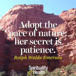 Ralph Waldo Emerson on nature's wisdom. - Adopt the pace of nature her secret is patience