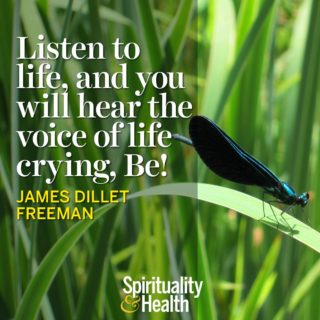 James Dillet Freeman on letting life be. - Listen to life and you will hear the voice of life crying Be