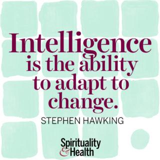Stephen Hawking on true intelligence - Intelligence is the ability to adapt to change. - Stephen Hawking