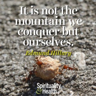 Edmund Hillary on achievement - It is not the mountain we conquer but ourselves