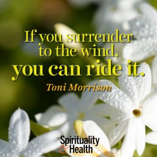 Toni Morrison on surrender - If you surrender to the wind you can ride it