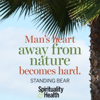 Standing Bear on connecting with nature - Mans heart away from nature becomes hard