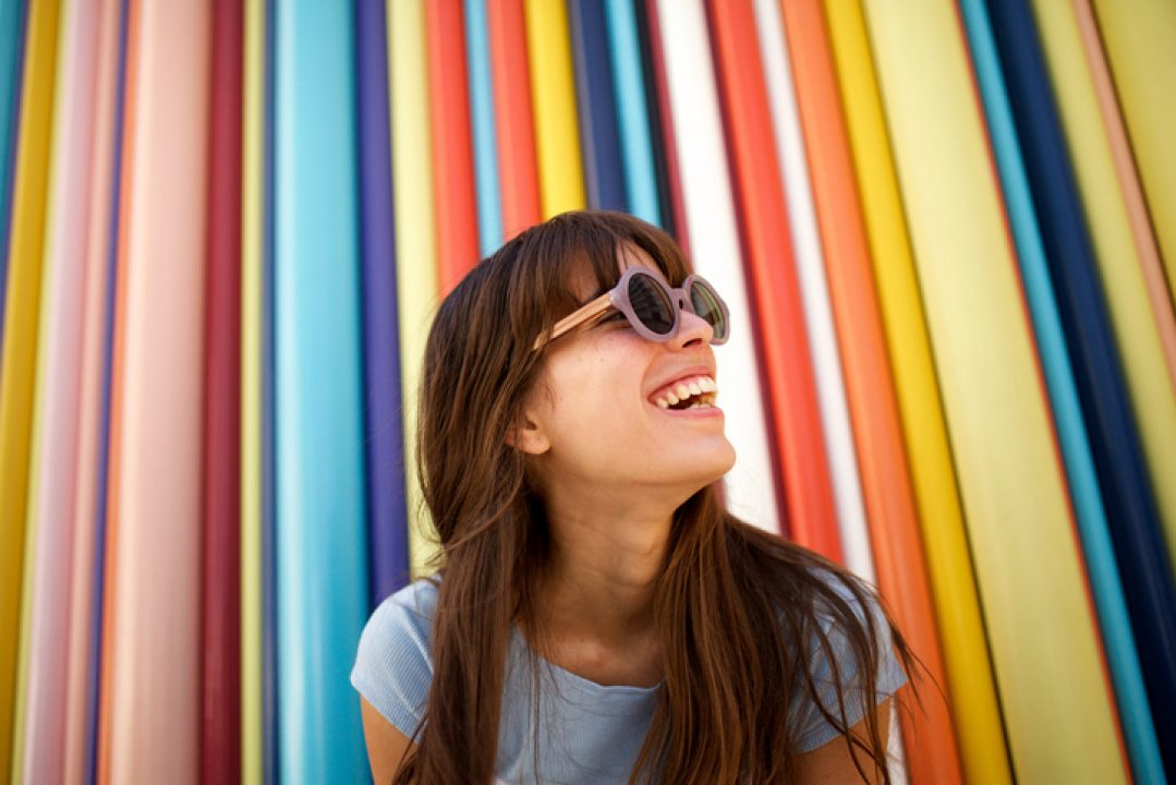 Woman lifts mood with color