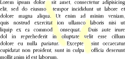 A fully justified paragraph of text in which vertical columns ('rivers') of white space are highlighted.