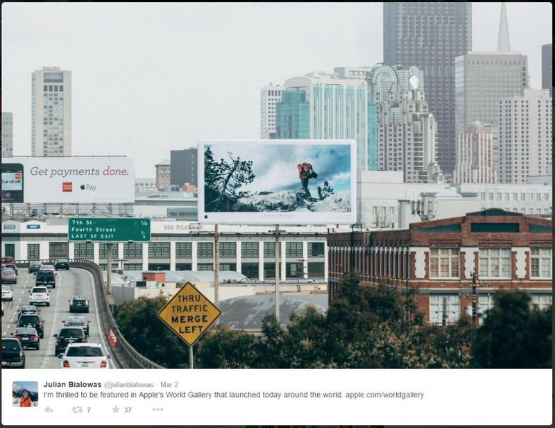 A photograph taken by Julian Bialowas on his iPhone 6 appeared on a billboard
