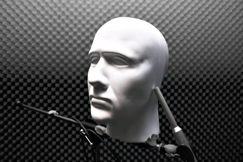 A dummy head is used to record binaural audio, one type of positional audio