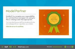 Waitrose Restricted Sales module featuring an elearning game