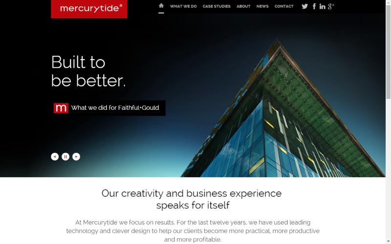Mercurytide's responsive design - Desktop view