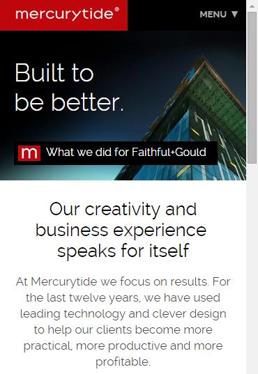 Mercurytide's responsive design - Mobile view