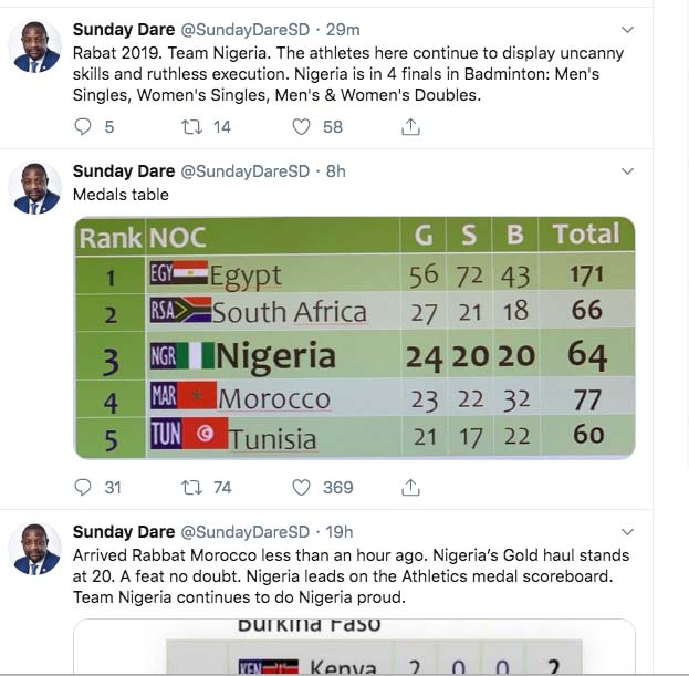 NIGERIA'S SPORTS MINISTER, SUNDAY DARE EXCITED ABOUT TEAM NIGERIA