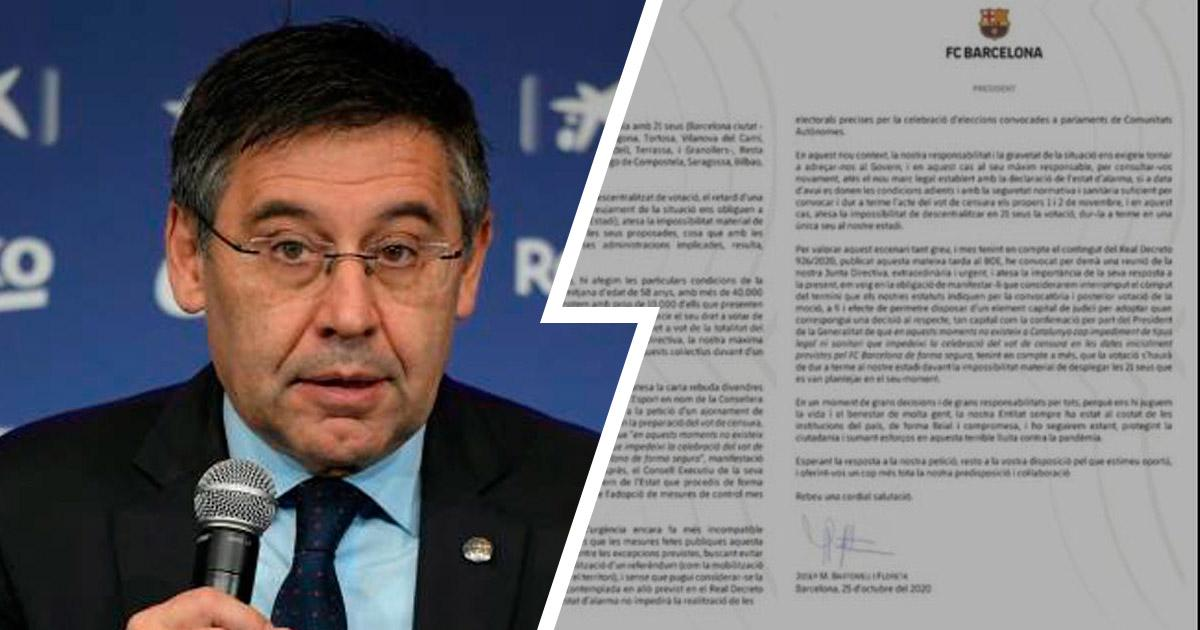 BEHOLD, THE PASSIONATE LETTER BARCA BOARD WROTE ASKING FOR REFERENDUM DELAY
