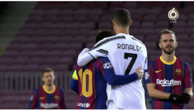 AHEAD OF CHAMPIONS LEAGUE CLASH, MESSI AND RONALDO SHARE HUGS