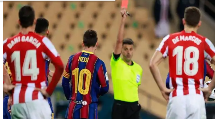 MESSI GETS TWO-GAME BAN FOR SUPER CUP RED CARD