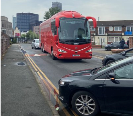 LIVERPOOL TEAM BUS BLOCKED BEFORE REARRANGED MAN UNITED CLASH