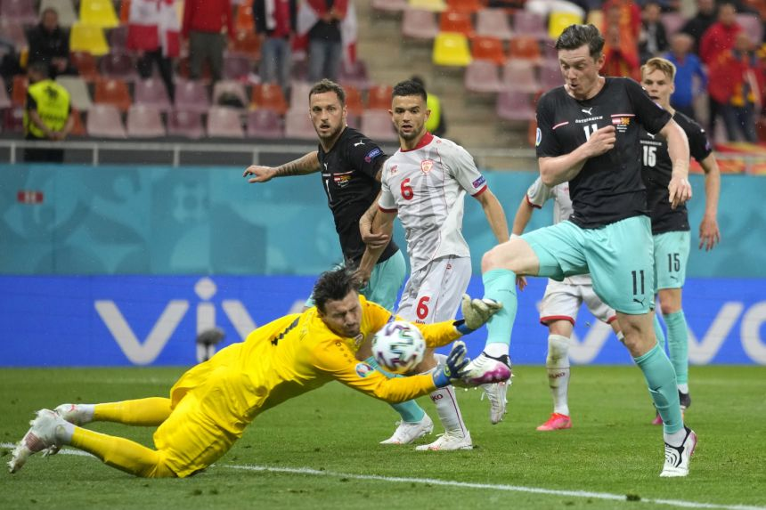 Austria see off debutants North Macedonia to secure first-ever Euro win