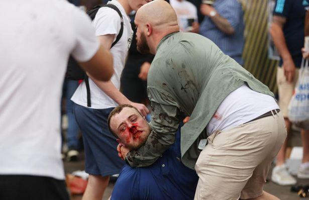 Breaking! England fans fight each other outside Wembley ahead of Euro 2020 final vs Italy