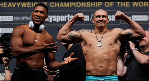 Anthony Joshua weighs heavier than Oleksandr Usyk ahead of their heavyweight title fight