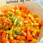 PINTEREST IMAGE: Buttered carrots and corn with text overlay