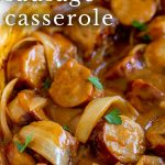 PINTEREST IMAGE: Sausage casserole with text overlay