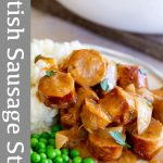 PINTEREST IMAGE: Sausage stew with text overlay
